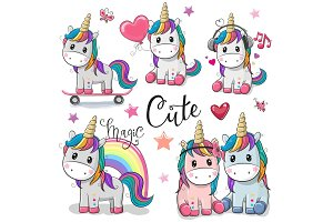 Set of Cute Cartoon Unicorns
