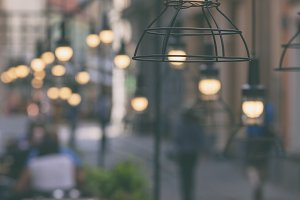 Lamps on the historic street