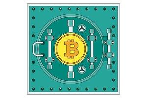 Bitcoin sign on bank vault.