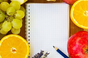notebook for recipes with fruits