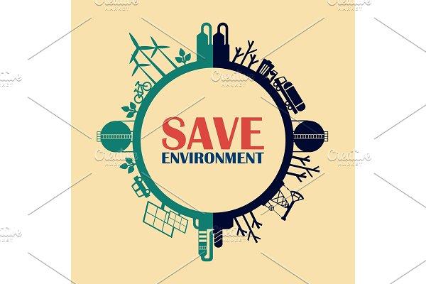 Save Environment Concept Pre Designed Vector Graphics Creative