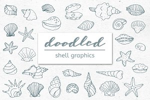 Doodled Shell and Starfish Graphics