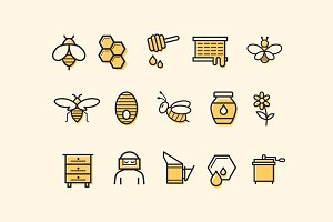 15 Bee and Honey Icons