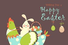 Easter bunny,chicken and easter eggs