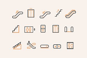 15 Stair Escalator Lift Icons