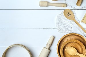 wooden sieve and rolling pin