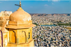 View of Jaipur from Nahargarh Fort - Rajasthan, India