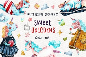 Watercolor sweet unicorns