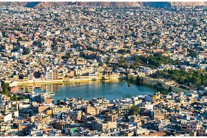 Aerial view of Jaipur with Tal Katora Lake - Rajasthan, India