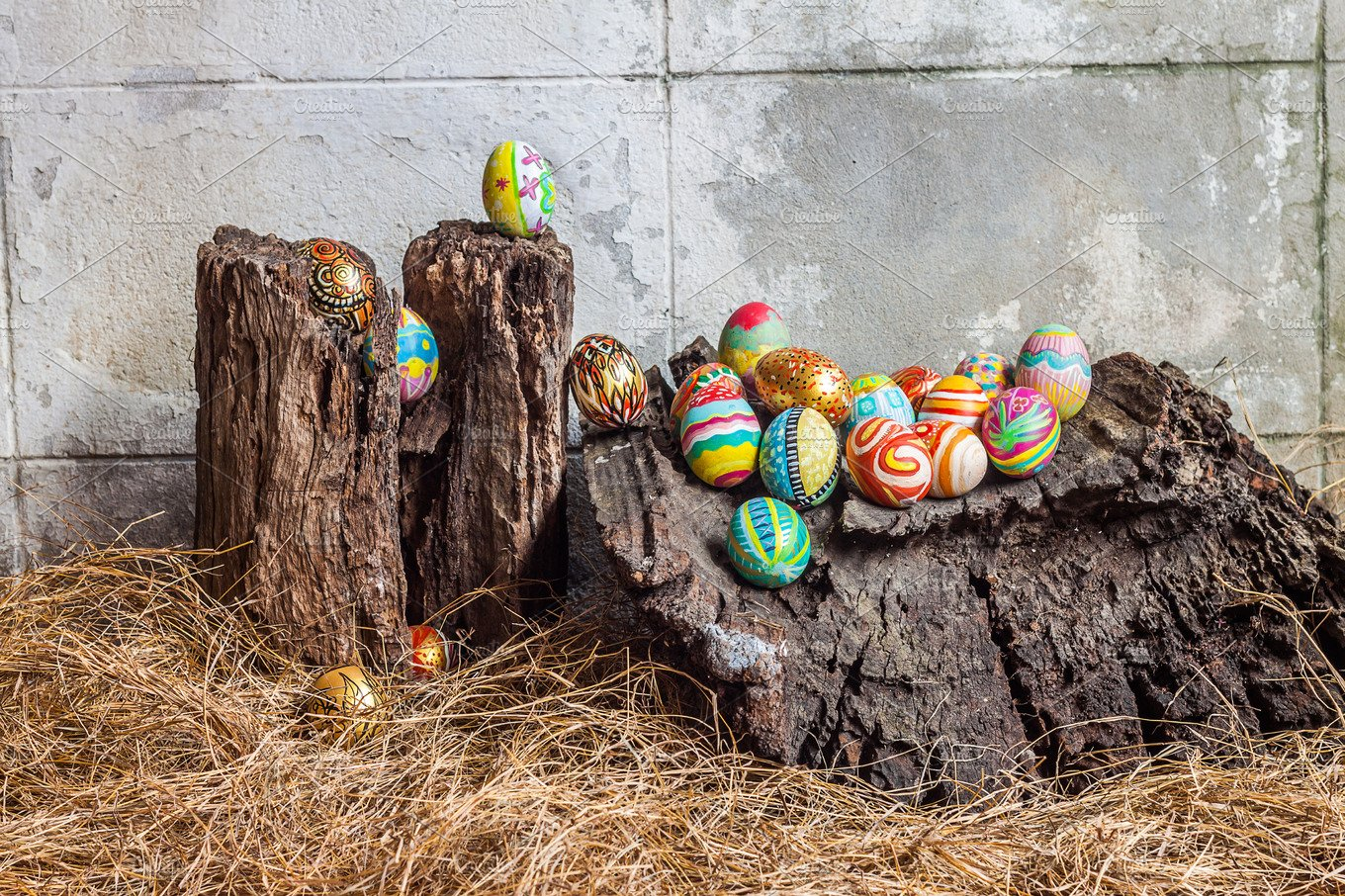 Colorful easter egg on old log holiday photos creative