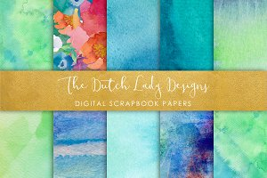 Aqua Watercolor - Scrapbook Papers