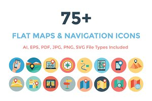 75+ Flat Maps and Navigation Icons