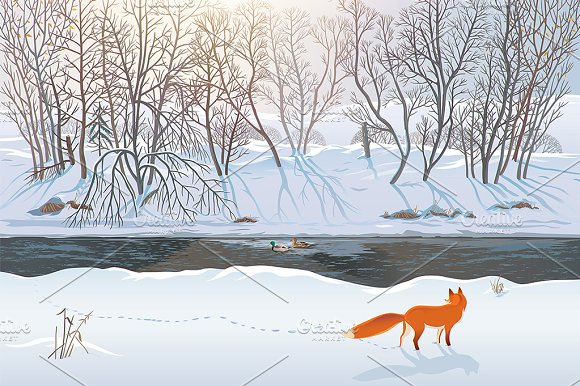 Winter Forest With Fox