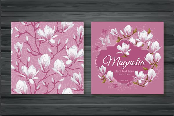 Vector cards with magnolia