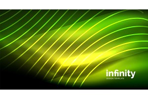 Abstract wave on dark background, shiny glowing neon digital background template