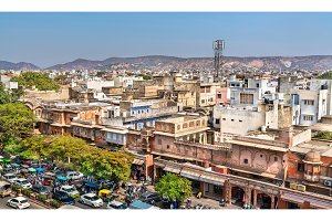 Cityscape of the old town of Jaipur, India