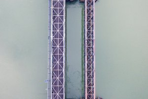 Aerial view of a bridge in the fog