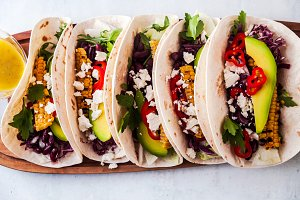 Vegetarian snack tacos with grilled