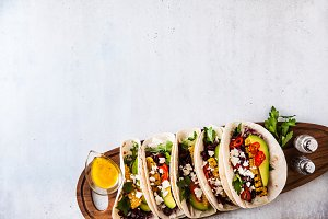 Mexican tacos with avocado, grilled