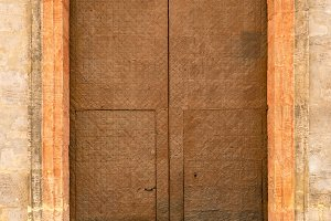 Leather covered door in Valencia Spain