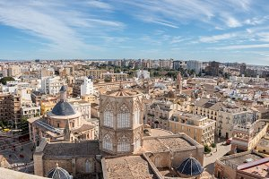 Overview of city from cathedral tower in Valencia