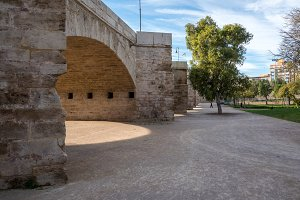 Dry riverbed in ancient city of Valencia Spain