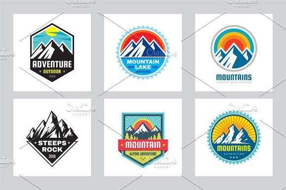 Mountain Adventure Vector Logo Set