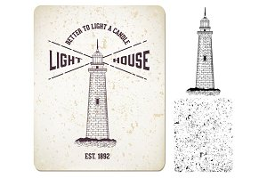 "Vector. vintage label ""lighthouse"""