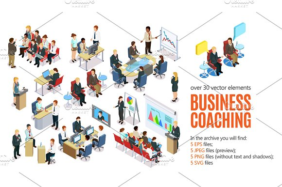 Business Coaching Isometric Set