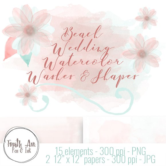 Pink And Mint Watercolor Textures