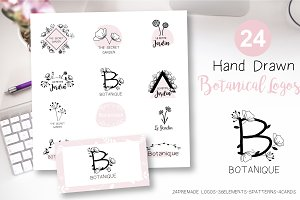 Botanical Hand Drawn Logo Bundle