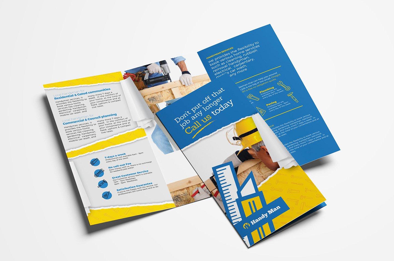 Handyman trifold brochure template brochure templates creative handyman trifold brochure template brochure templates creative market spiritdancerdesigns Images