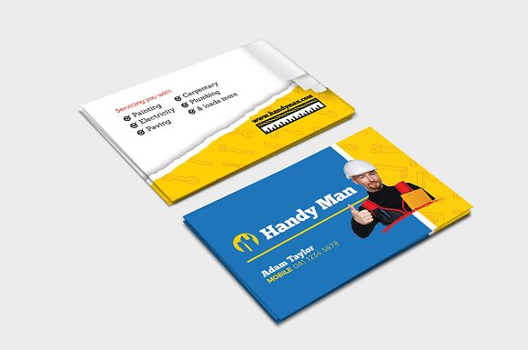 Handyman business card template business card templates creative handyman business card template business card templates creative market friedricerecipe Image collections