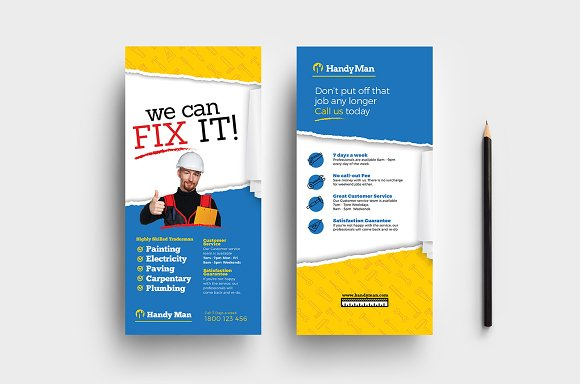 Handyman DL Card Template in Flyer Templates