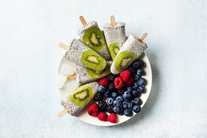 Kiwi Coconut Chia Popsicles and fres