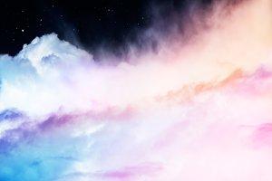 Rainbow Clouds and Stars