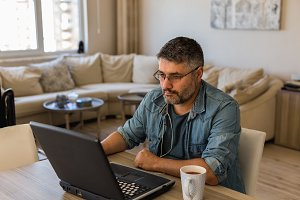 Freelancer working online from home