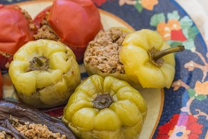 meat stuffed tomatoes, peppers