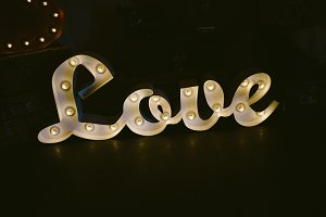 Illuminated sign 'Love'