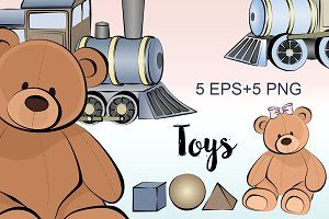 Illustrations Toys/Bear/Train/Kids