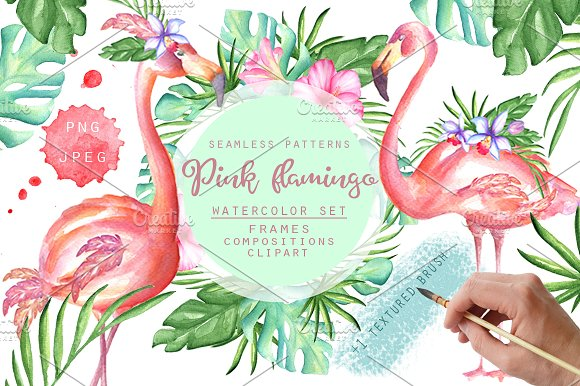 Pink Flamingo Watercolor Set