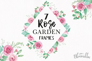 Rose Watercolor Pink Frames Kit