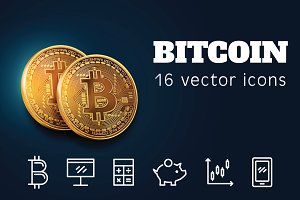 BITCOIN - 16 vector icons