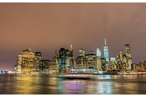 Lower Manhattan at night viewed from Brooklyn
