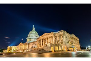 The United States Capitol Building at night in Washington, DC