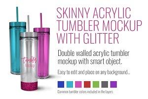 Skinny Acrylic Tumbler w/ glitter