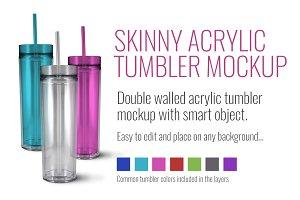 Skinny Acrylic Tumbler Mockup