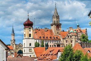 View of St. Johann Church and the Castle in Sigmaringen - Baden-Wurttemberg, Germany