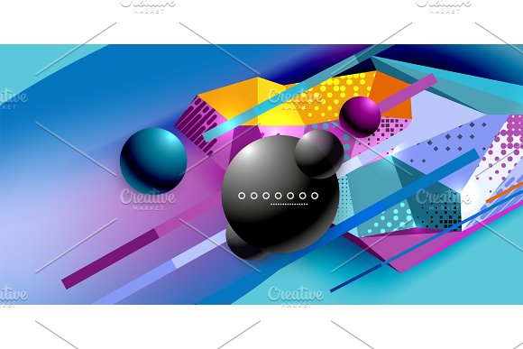 Abstract Geometric Poster Created With Polygonal Triangle Elements Lines Spheres Material Textures Holographic Elements