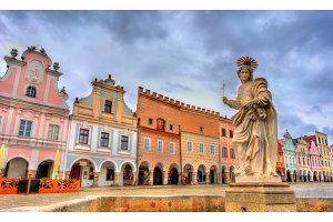 Statue of Saint Margaret in Telc, Czech Republic